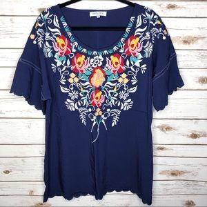 Misslook navy blue embroidered boho top 3XL